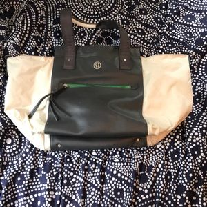 Grey,White, and Green Lululemon Gym Bag